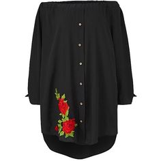 Ax Paris Embroidered Bardot Blouse ($62) ❤ liked on Polyvore featuring tops, blouses, embroidered top, ax paris, ax paris top, embroidery top and embroidered blouse