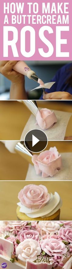 Learn how to pipe a beautiful buttercream rose to put on your cake or cupcakes. With practice, your roses will have the just-picked look of real fresh garden rose. Click to watch this video tutorial! #cakedecoratingtechniques