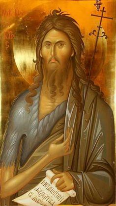 Holy Prophet and Forerunner John the Baptist Religious Images, Religious Icons, Religious Art, Byzantine Icons, Byzantine Art, Saint John, Spiritual Paintings, Christian Religions, Best Icons
