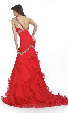 Modest Trumpet / Mermaid One Shoulder Floor-length Chiffon Red Prom Dresses - $143.99 - Trendget.com