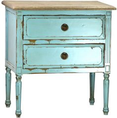Rustic, cottage coastal side table painted turquoise