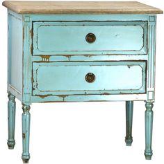 Rustic, cottage coastal side table painted turquoise