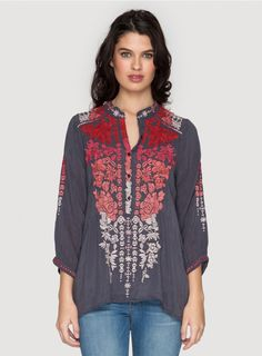 Blooming Ombre Blouse The Johnny Was BLOOMING OMBRE BLOUSE offers a chic new take on our signature embroidered blouse thanks to a bold embroidery design in rich ombre shades of red, pink, and grey that details the front, back placket, and ¾ length sleeves. Pair this boho top with your favorite boyfriend jeans and sandals for the for an easygoing yet chic look!  - Rayon Georgette - Mandarin Collar with Four Button Henley Front, ¾ Length Sleeves - Signature Embroidery - Care Instructions…