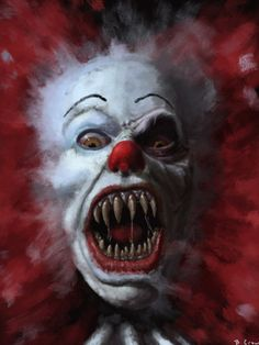 """Pennywise the Clown in """"IT"""" a Stephen King horror book. The Crow, Le Clown, Creepy Clown, Creepy Carnival, Creepy Pics, Clown Mask, Horror Films, Horror Art, Horror Room"""