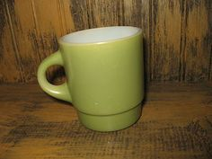 FIRE KING anchor hocking MILK GLASS CUP MUG midcentury GREEN C handle @eBay!
