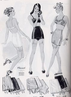 Women typically wore a petticoat which helped conceal a corset known as a waspie. Waspies helped define the waistline and had garters to support stockings. Tiny waists and high bust lines were the style of the day, which helped create a need for more constrictive, structured underwear. For instance, the circle stitched bra was designed to separate and lift the bust. Full-length slips and full skirted waist slips were worn in addition to uplift bras and girdles.