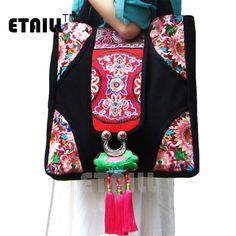 Hmong Tribal Ethnic National Rucksack Embroidery Dragon Hippie Backpack Bag B