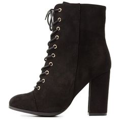 Charlotte Russe Lace-Up Ankle Booties ($43) ❤ liked on Polyvore featuring shoes, boots, ankle booties, black, bow tie boots, black lace up booties, black booties, black laced booties and faux suede lace-up booties