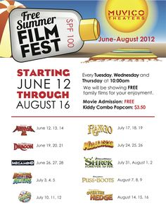 Free Summer Film Fest at Muvico Theatres  Check out www.MCKIA.biz and click on Palm Beach County Know It All to find more events in Palm Beach County!!!