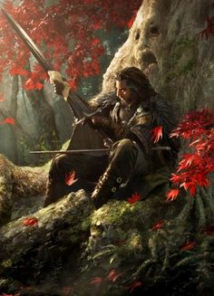 This is probably Ned Stark or some GoT character judging by the tree... but still pinning it. Credit to the artist - soooo pretty!