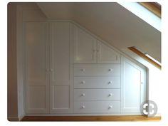 Attic Master Bedroom Inspiration 58 - Furniture Inspiration - Home Decorations Ideas Attic Master Bedroom, Attic Bedrooms, Closet Bedroom, Attic Closet, Attic Bathroom, Attic Office, Eaves Bedroom, Slanted Ceiling Bedroom, Attic Bedroom Storage
