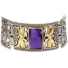 Konstantino Erato Statement Link Bracelet w/ Amethyst Doublet (2 690 AUD) ❤ liked on Polyvore featuring jewelry, bracelets, purple, handcrafted jewelry, 18k jewelry, amethyst jewelry, purple jewelry and 18k bangle