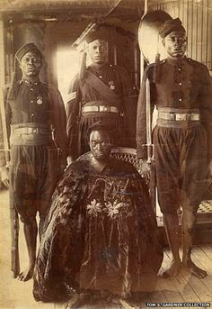 The Oba of Benin Ovonramwen in 1897. Exiled to Calabar in south-eastern Nigeria, after a British court acquitted him of the killings of seven british emissaries that sparked retaiiatry british attacks. But by the time the monarchy was restored in 1914, the independent kingdom of Benin no longer existed - it had become part of Nigeria, which was then a British colony.