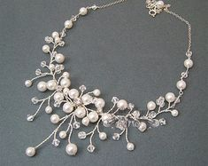 Flower Bridal Necklace Pearls Wedding Necklace Ivory Pearl