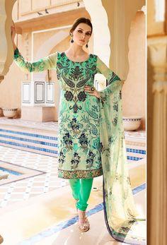 Cream And Light #Green French #Crepe #Straight Cut #Suit #nikvik  #usa #designer #australia #canada #freeshipping #suits #pakistani