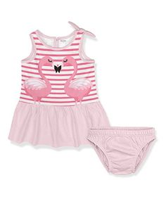 Look what I found on #zulily! Light Pink & Plum Stripe Flamingo Dress Set - Newborn, Infant & Toddler #zulilyfinds