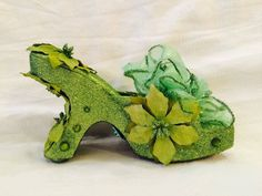Glorious in green too. 2016 Krewe of Muses glitter shoe.