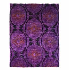 $1,999.99 Ikat Purple Area Rug (8'X10'): Incorporate the global-traveler trend into your home with this striking purple ikat-print rug. Hand-woven by Afghan tribal weavers who have been working in this craft for centuries, this hand-knotted rug creates a peaceful ambiance with its vibrant green and yellow pattern that will easily anchor any room.