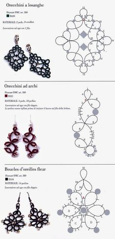 Crochet lace tutorial needle tatting ideas crochet quick and easy free tatted earring patterns Tatting Earrings, Tatting Jewelry, Lace Jewelry, Tatting Lace, Jewelry Crafts, Crochet Earrings, Etsy Jewelry, Art Crafts, Beaded Earrings