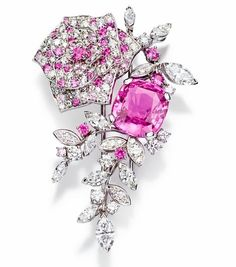 Piaget Rose Passion brooch in white gold set with diamonds and pink sapphires