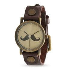 Leather Fashion Watch with Mustache Design    Found on It's Your Time page of Your Jewelry Store