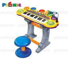 Đàn organ đồ chơi cao cấp 37 phím kèm trống điện tử với ghế ngồi và mi