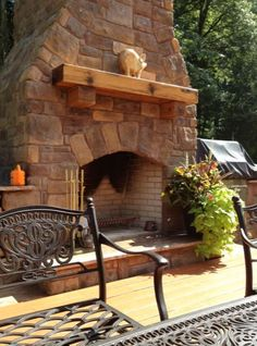 Outdoor Stone Fireplace #outdoor #stone Outdoor Stone Fireplace