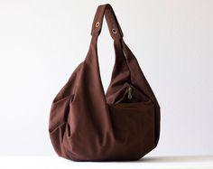 Brown shoulder bag , hobo bag , slouch bag in cotton canvas  - Kallia bag.