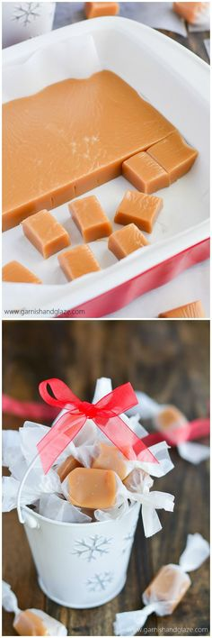 Soft, buttery, melt-in-your-mouth homemade Christmas caramels are the perfect holiday gift! My favorite treat!Soft, buttery, melt-in-your-mouth homemade Christmas caramels are the perfect holiday gift! My favorite treat! Yummy Treats, Delicious Desserts, Sweet Treats, Yummy Food, Candy Recipes, Sweet Recipes, Dessert Recipes, Caramel Recipes, Christmas Sweets