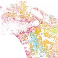 Racial Segregation - White is pink; Black is blue; Hispanic is orange, and Asian is green.