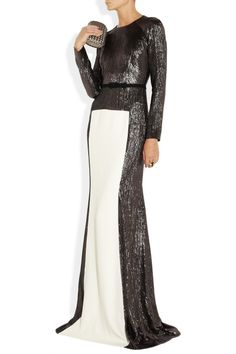 Shimmy your way up the red carpet (or wherever) in this beyond fabulous #rolandmouret full length gown #redcarpetstyle #shimmy #sparkling #monochrome #columndress #style #fashion
