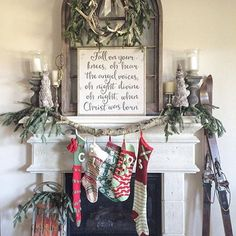 Farmhouse Christmas fireplace and mantel