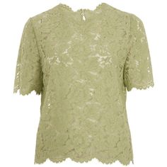 Valentino Mint Heavy Lace Top ($1,220) ❤ liked on Polyvore featuring tops, blouses, green lace blouse, mint top, mint lace top, short sleeve tops and lace blouse