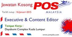 Kerja Kosong POS Malaysia Berhad Hingga Januari 2015. #kerjakosongposmalaysia #jawatankosongposmalaysia