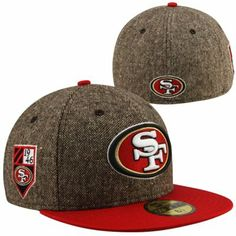 New Era San Francisco 49ers Crest 59FIFTY Fitted Hat - Tweed Scarlet c6fe3ce1c1bf