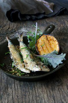 ♂ food photography food styling still life Baked sardines, kale, pine nuts + raisins (He Needs Food)