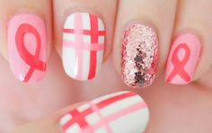 T Cancer Awareness Nails Tutorial Elleandish Going To Attempt This For A Walk On Saay Hope I Don Fail