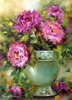 "Daily Paintworks - ""Pink Flamingo Peonies by Nancy Medina"" - Original Fine Art for Sale - © Nancy Medina"