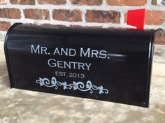 Personalized Mr. and Mrs. Wedding Card Mailbox Decal -  30 Colors Available. $10.00, via Etsy.