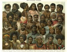 OCEANIC PEOPLES, OZEANISCHE VÖLKER,ETHNIC, SOCIOLOGY1894 Original Antique Chromolithograph