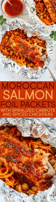 These Moroccan Salmon Foil Packets with Carrot Noodles Chickpeas are sweet and spicy with tons of flavor and are easily made in just 20 minutes with little to no clean-up! Shellfish Recipes, Seafood Recipes, Cooking Recipes, Healthy Recipes, Keto Recipes, Salmon Foil Packets, Carrot Noodles, Salmon Seasoning, Eat Yourself Skinny