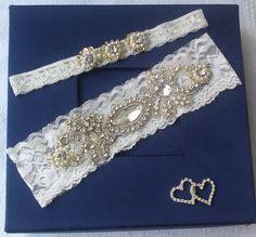 Wedding  Garter Set  Ivory Lace Garter Set by UniqueCeremony Wedding Garter Set, Lace Garter, Bridal Boutique, Bridal Accessories, Crystal Rhinestone, Ivory, Crystals, Bridal Garters, Unique Jewelry
