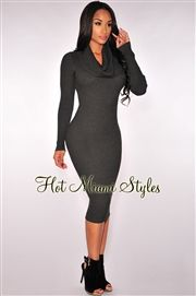 Charcoal Knit Ribbed Cowl Neck Dress