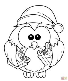 holiday owl coloring page - free christmas recipes, coloring pages ... - Free Printable Owl Coloring Pages