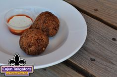 Our Boudin balls! Made from scratch! Served with a homemade ranch & tabasco sauce! Homemade Ranch, Tailgate Food, Balls, Muffin, Breakfast, Breakfast Cafe, Muffins