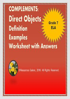 Here is a ready-to-go resource on Direct Object Complement that includes an introduction to complements and direct object complements with definitions and examples. This is followed by a worksheet for student practice along with an answer sheet.This is designed to align with Grade 7 common core requirements as well as any Year 7  English Grammar standards.Hope you find this resource useful!Check out more quality, ready-to-use resources:More from Re-sources Galore Follow me on:PinterestCLICK…