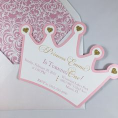 Princess crown birthday invitation, pink and gold by FancyFunctionDesigns on…