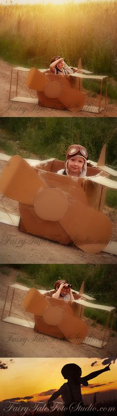Pilot in Cardboard Box Airplane Vintage Style Photo Session #4 Year Old Boy Sillouette in Sunset Portrait Poses | Photo Idea | Photography | Cute Kid Pic | Baby Pics | Posing Ideas | Kids | Children | Child | ~Bountiful Utah Photographer country farm