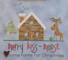 MarNic Designs Hearts Come Home For Christmas - Cross Stitch Pattern. Come Home for Christmas. Model stitched on 28 Ct. Cornflower Jobelan by Christmas Charts, Christmas Cross, Christmas Home, Xmas, Christmas Ornaments, Cross Stitch Kits, Cross Stitch Designs, Cross Stitch Patterns, Needle And Thread