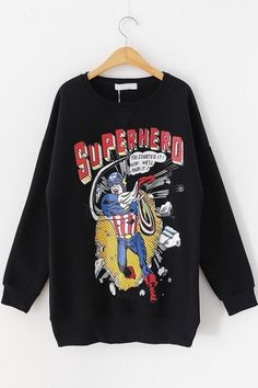 SUPERHERO Graphic Fleece Sweatshirt OASAP.com